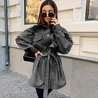 Fashion women's solid color long sleeve lapel pocket shirt belt woolen coat
