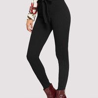 High Waist Knotted Skinny Pants