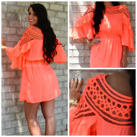 Cha Cha Chica Neon Coral Applique Neckline Dress