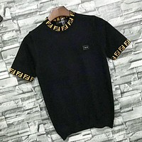 Fendi Fashion New Letter Knit Top T-Shirt Women Black