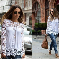 SIMPLE - Chiffon Lace Long Sleeve Shirt blouse Top Casual Boho Top T-shirt b2204