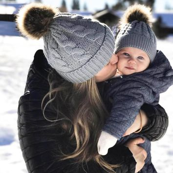 """""""Mommy & Me"""" Matching Faux Fur Beanies"""