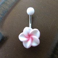 Pink White Hawaiian Flower Plumeria Belly Button Ring Hawaii Navel Stud Jewelry Bar Barbell Piercing Tropical Hibiscus