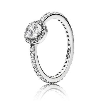Authentic 925 Sterling Silver Pandora Ring Classic Elegance With Crystal Rings For Women Wedding Party Gift Fine Jewelry