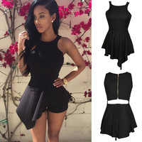 Black Sleeveless Cutout Asymmetric Hem Back Zip Romper