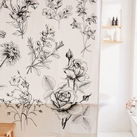 Makenna Etched Floral Shower Curtain | Urban Outfitters