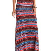 High-Waisted Aztec Print Maxi Skirt - Bright Coral Combo