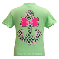 Girlie Girl Originals Anchor Bow Delta Neon Green Bright T Shirt