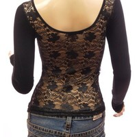 Patty Women Sexy Black Floral Lace Back Scoop Neck Long Sleeve Blouse Top