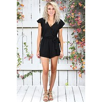 Ruffled Short Sleeve Surplice Romper {Black} - Size SMALL