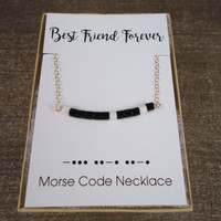 14k gold filled morse code BFF black beige white seed bead curve bar necklace / bridesmaid / dainty / minimalist / personalized / statement