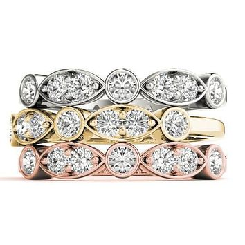 Stackables 1/2 Eternity Tri-Tone Gold Double Diamond Marquise Bezel  3-Band Set Selectables
