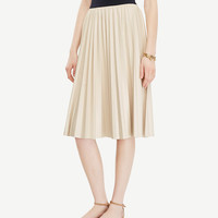 Pleated Faux Leather Skirt   Ann Taylor