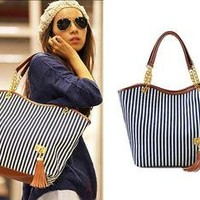 New Style Women Fashion Street Snap Candid Handbag Linen Tote Lady Shoulder Bag