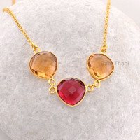 Three stone Necklace, Champagne and Pink Tourmaline Quartz Faceted Heart Micron Gold Plated Silver Necklace, 12 mm #1793