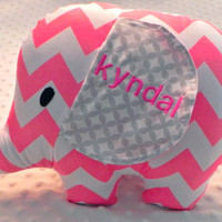 Baby Girl Bright Bubble Gum Pink and Gray Chevron Stuffed Elephant