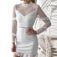 Elegant Lace hollow out sexy bodycon women dresses Ruffle long sleeve mesh dress spring Vintage christmas party vestidos