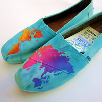 World at your feet TOMS by LamaLand on Etsy