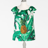 Women's t-shirts and tops | Dolce&Gabbana - PRINTED BROCADE SLEEVELESS TOP WITH JEWELED EMBELLISHMENT