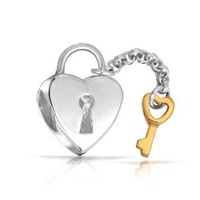 Mothers Day Gifts Lock Key 925 Sterling Silver Heart Dangle Bead Pandora Compatible