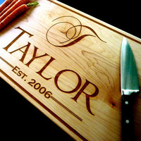 Personalized Chopping Block - Custom Engraved - Maple - 12 x 24 x 1.5