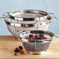 Stainless-Steel 3-Piece Mesh Colander Set