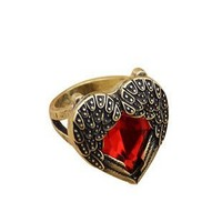 FBrand Vintage jewelry red gemstone heart love ring Angel Wing