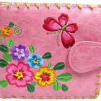 Lavishy Flower & Butterfly Embroidery Medium Pink Vegan/faux Leather Wallet