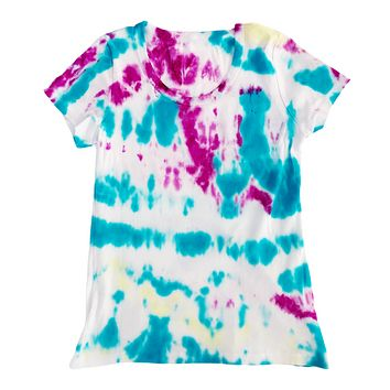 Women's Tie Dye T Shirt, Turquoise and Pink