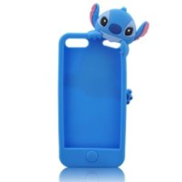 W-RainBow Blue Lovely Hide and Seek Stitch Pattern Silicone Case Cover for Apple Ipod Touch 5