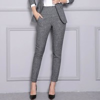 2019 Casual Pants Women High Waist Trousers Office Lady Work Fashion Straight Ankle Length Pencil Pants Korean Female Clothing