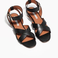 & Other Stories   Rounded Heel Ankle Strap Sandals   Black