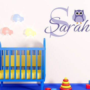 Art Wall Decals Wall Stickers Vinyl Decal Quote - Owl Wall Nursery Name Initial Monogram Wall Decal