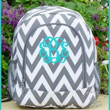 HEAVY DUTY Grey Chevron Personalized Backpack -  Monogrammed Girls Zig Zag Striped Bookbag, Pewter and white personalized kids backpack