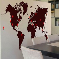 World Map Pin Drops Decal #873