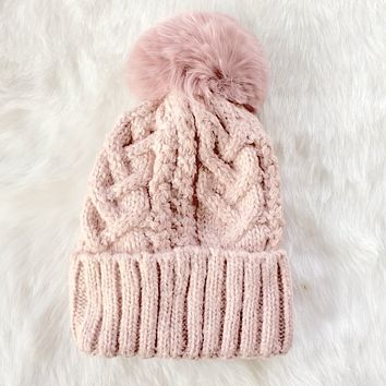 Cotton Candy Knit Pink Beanie