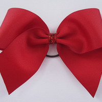 Red Cheer Bow with Sparkle by MadiLeighBowtique