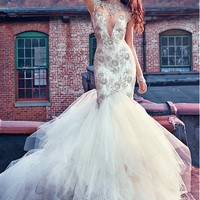 [279.99] Attractive Tulle Illusion High Neckline Mermaid Wedding Dress With Beaded Embroidery - dressilyme.com