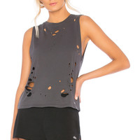 alo Harley Muscle Tank in Anthracite Distressed Holes