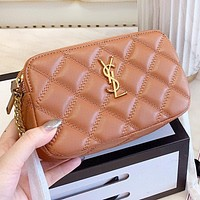 YSL New fashion leather chain shoulder bag crossbody bag Brown