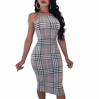 Women Bodycon Dress Classical Plaid Party Dresses Sheath Dresses