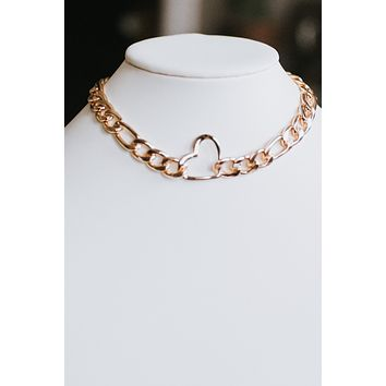 Thick Chain Metal Open Heart Necklace