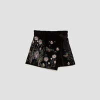 EMBROIDERED VELVET SHORTS
