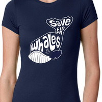 Whale Tail t shirt funny save the whales S-4XL