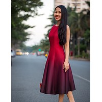 Red Ombre Swing Dress  - Free Custom Sizing