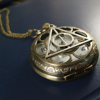 harry potter pocket watch the death hallows brass rose flower pendant chain charm antique jewelry necklace