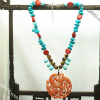 Natural carved red jade necklace drangon family necklace, tiger's eye turquoise coral necklace, power necklace, chakra healing necklace