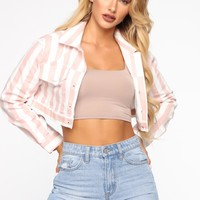 Stripe It Off Jacket - Pink
