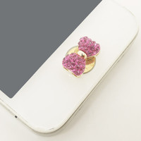 1PC Bling Crystal Bow iPhone Home Button Sticker Charm for iPhone 4,4s,4g,5,5c Cell Phone Charm Friend Gift