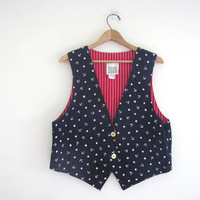 vintage blue and white stars vest / stars and stripes / red white and blue